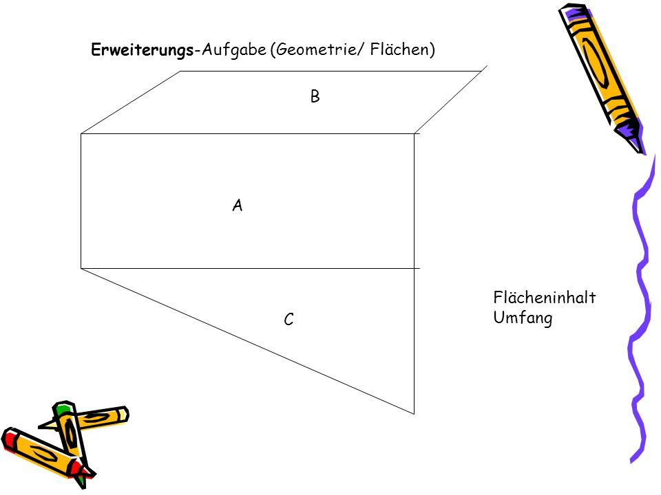 Erweiterungs-Aufgabe (Geometrie/ Flächen) Flächeninhalt Umfang A B C