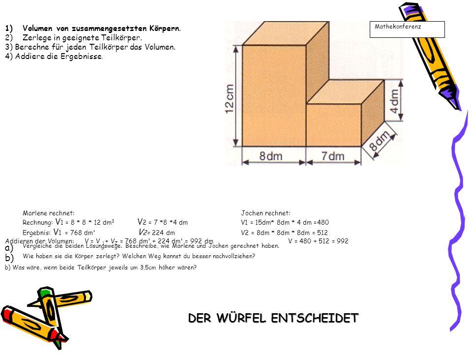 Mathekonferenz 1)Volumen von zusammengesetzten Körpern. 2)Zerlege in geeignete Teilkörper. 3) Berechne für jeden Teilkörper das Volumen. 4) Addiere di