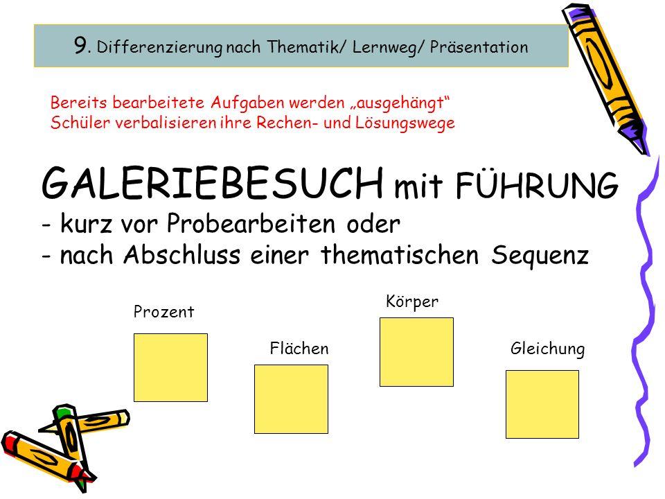 9. Differenzierung nach Thematik/ Lernweg/ Präsentation GALERIEBESUCH mit FÜHRUNG - kurz vor Probearbeiten oder - nach Abschluss einer thematischen Se