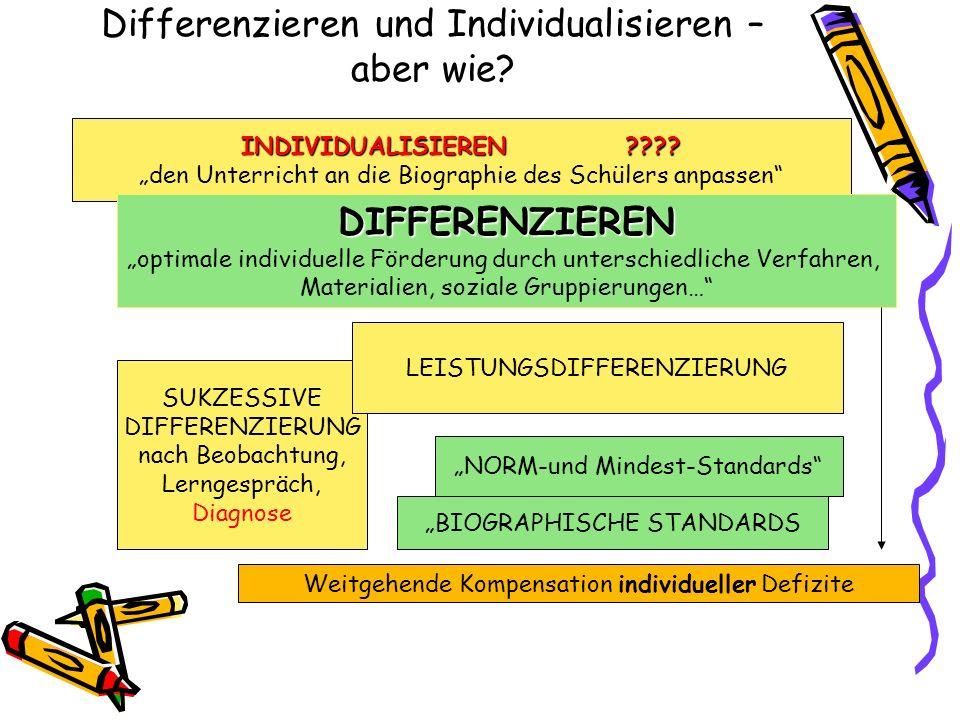 Differenzieren und Individualisieren – aber wie? INDIVIDUALISIEREN???? den Unterricht an die Biographie des Schülers anpassen DIFFERENZIEREN optimale