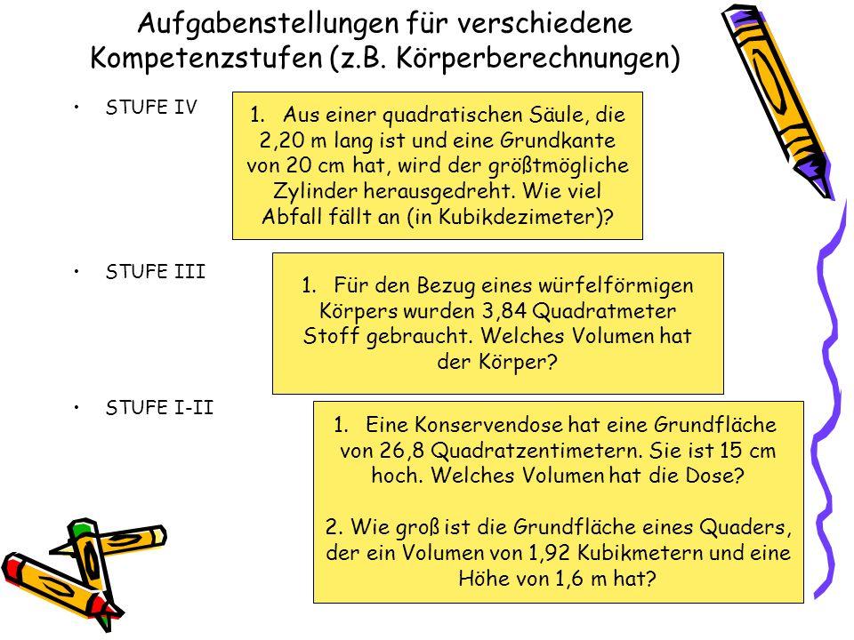 Aufgabenstellungen für verschiedene Kompetenzstufen (z.B. Körperberechnungen) STUFE IV STUFE III STUFE I-II 1.Aus einer quadratischen Säule, die 2,20