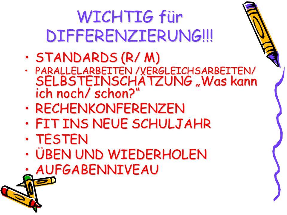 WICHTIG für DIFFERENZIERUNG!!! STANDARDS (R/ M)STANDARDS (R/ M) PARALLELARBEITEN /VERGLEICHSARBEITEN/ SELBSTEINSCHÄTZUNG Was kann ich noch/ schon?PARA