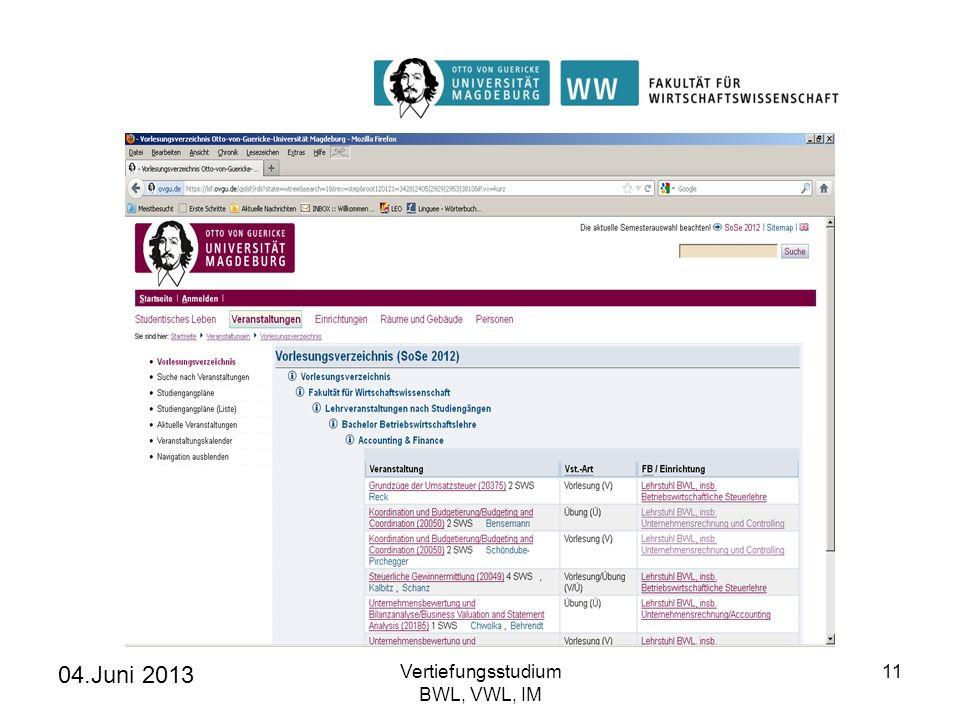 04.Juni 2013 Vertiefungsstudium BWL, VWL, IM 11