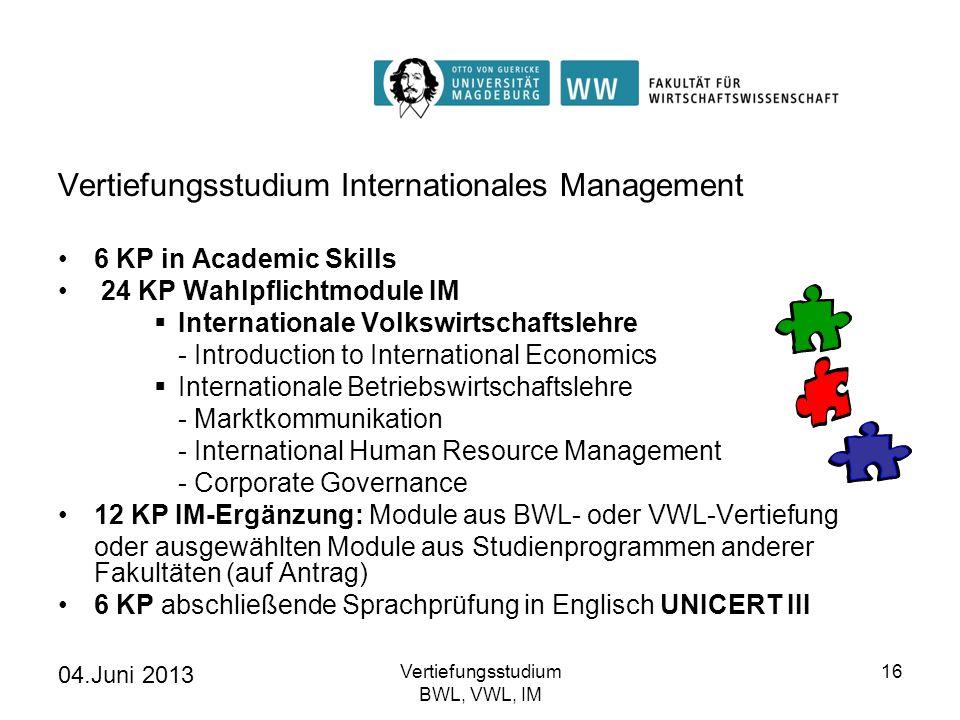 04.Juni 2013 Vertiefungsstudium BWL, VWL, IM 16 Vertiefungsstudium Internationales Management 6 KP in Academic Skills 24 KP Wahlpflichtmodule IM Inter
