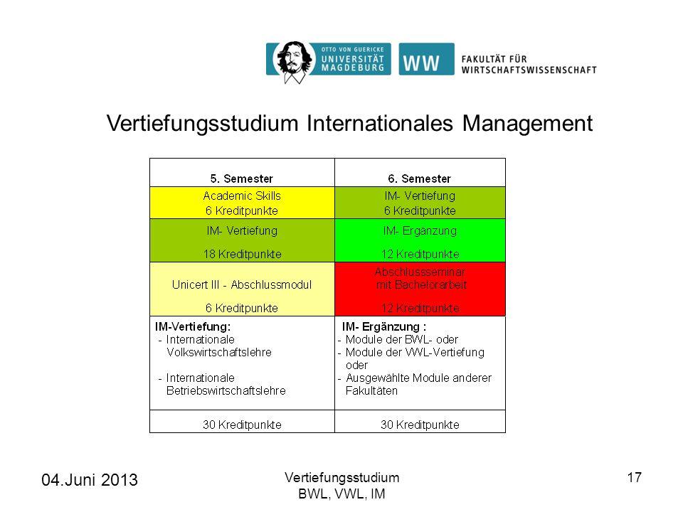 04.Juni 2013 Vertiefungsstudium BWL, VWL, IM 17 Vertiefungsstudium Internationales Management