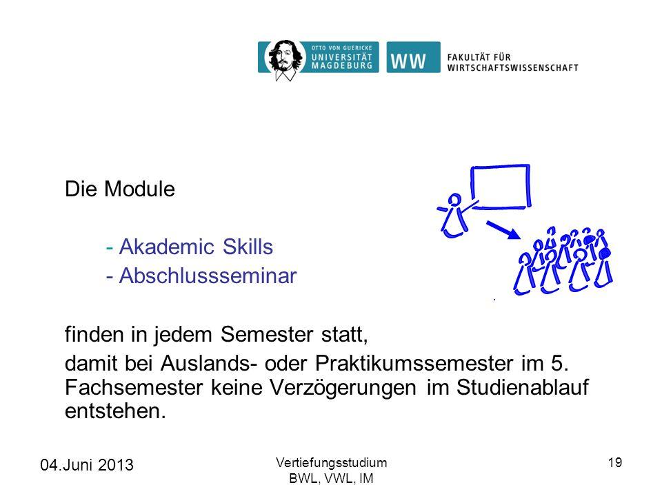 04.Juni 2013 Vertiefungsstudium BWL, VWL, IM 19 Die Module - Akademic Skills - Abschlussseminar finden in jedem Semester statt, damit bei Auslands- od