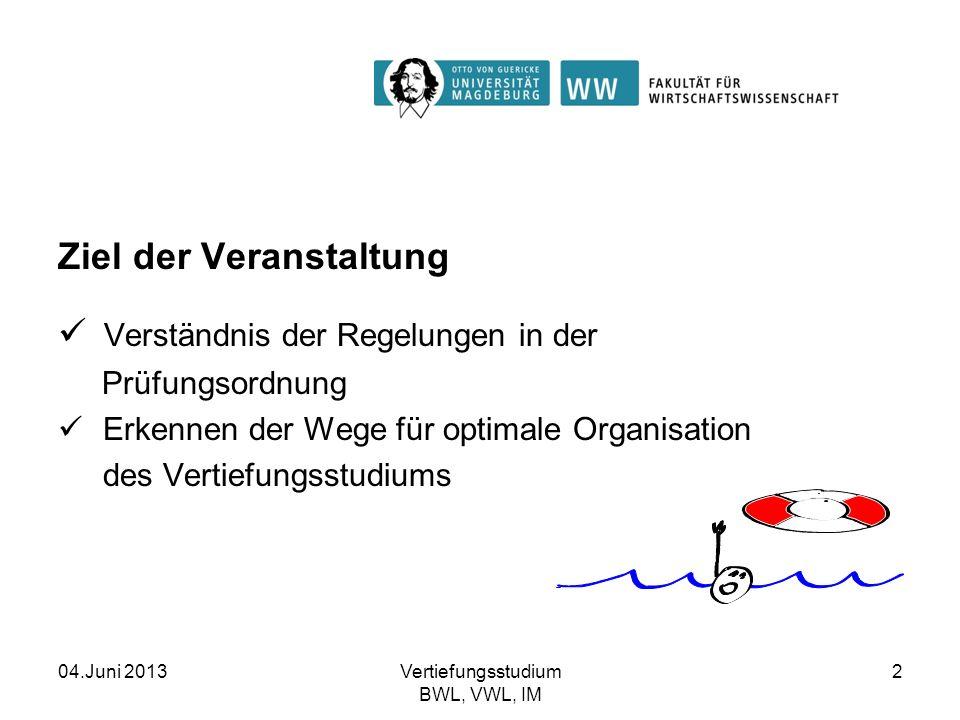 04.Juni 2013Vertiefungsstudium BWL, VWL, IM 2 Ziel der Veranstaltung Verständnis der Regelungen in der Prüfungsordnung Erkennen der Wege für optimale