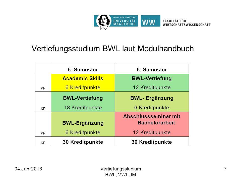 04.Juni 2013Vertiefungsstudium BWL, VWL, IM 7 Vertiefungsstudium BWL laut Modulhandbuch Vertiefungsstudium Betriebswirtschaftslehre 5. Semester6. Seme