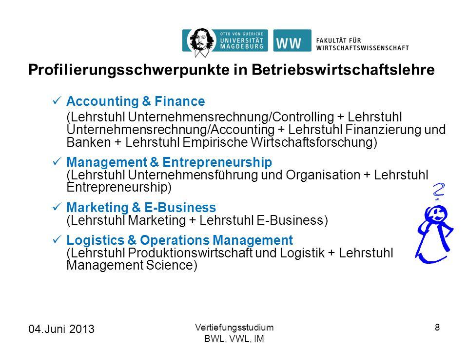 04.Juni 2013 Vertiefungsstudium BWL, VWL, IM 8 Profilierungsschwerpunkte in Betriebswirtschaftslehre Accounting & Finance (Lehrstuhl Unternehmensrechn
