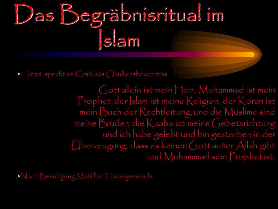 Imam spricht am Grab das Glaubensbekenntnis Das Begräbnisritual im Islam Gott allein ist mein Herr, Muhammad ist mein Prophet, der Islam ist meine Rel