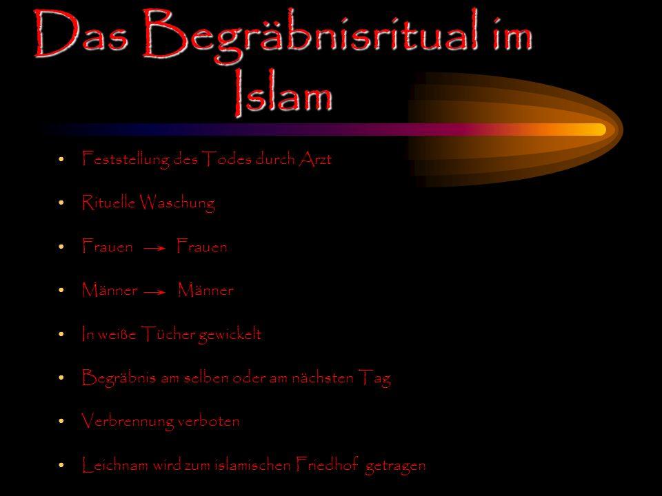 Das Begräbnisritual im Islam Feststellung des Todes durch Arzt Rituelle Waschung Frauen Männer In weiße Tücher gewickelt Begräbnis am selben oder am n