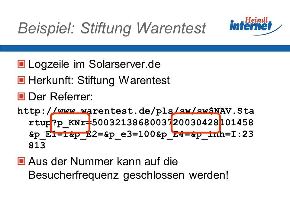Was im Logfile steht IP-Adresse des anfragenden Rechners Datum/Uhrzeit der Anfrage Aufgerufenes Dokument Zuletzt besuchte Seite Inklusive Suchworte be
