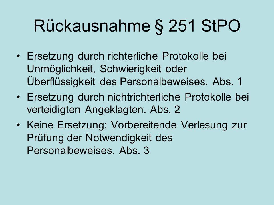 Rückausnahme bei § 252 StPO Beweiserhebungs- und – verwertungsverbot nach Zeugnisverweigerung gem.