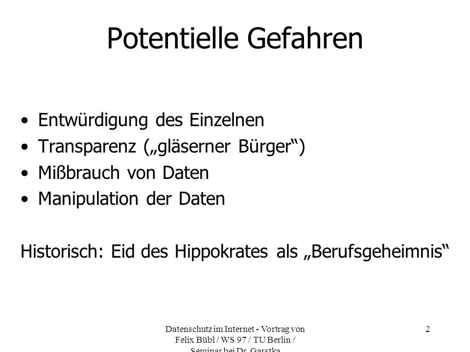 Datenschutz im Internet - Vortrag von Felix Bübl / WS 97 / TU Berlin / Seminar bei Dr. Garstka 2 Potentielle Gefahren Entwürdigung des Einzelnen Trans