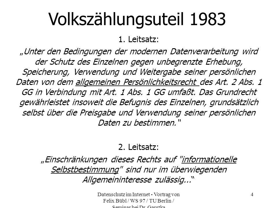 Datenschutz im Internet - Vortrag von Felix Bübl / WS 97 / TU Berlin / Seminar bei Dr. Garstka 4 Volkszählungsuteil 1983 1. Leitsatz: Unter den Beding