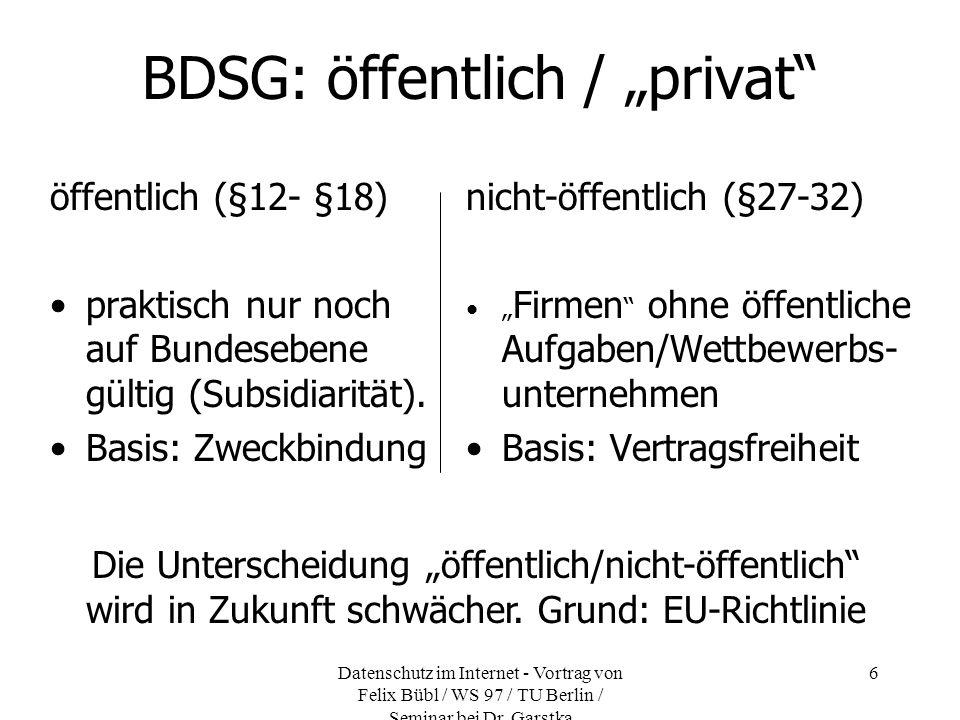 Datenschutz im Internet - Vortrag von Felix Bübl / WS 97 / TU Berlin / Seminar bei Dr. Garstka 6 BDSG: öffentlich / privat öffentlich (§12- §18) prakt