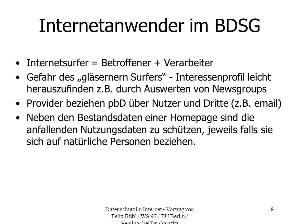 Datenschutz im Internet - Vortrag von Felix Bübl / WS 97 / TU Berlin / Seminar bei Dr. Garstka 8 Internetanwender im BDSG Internetsurfer = Betroffener