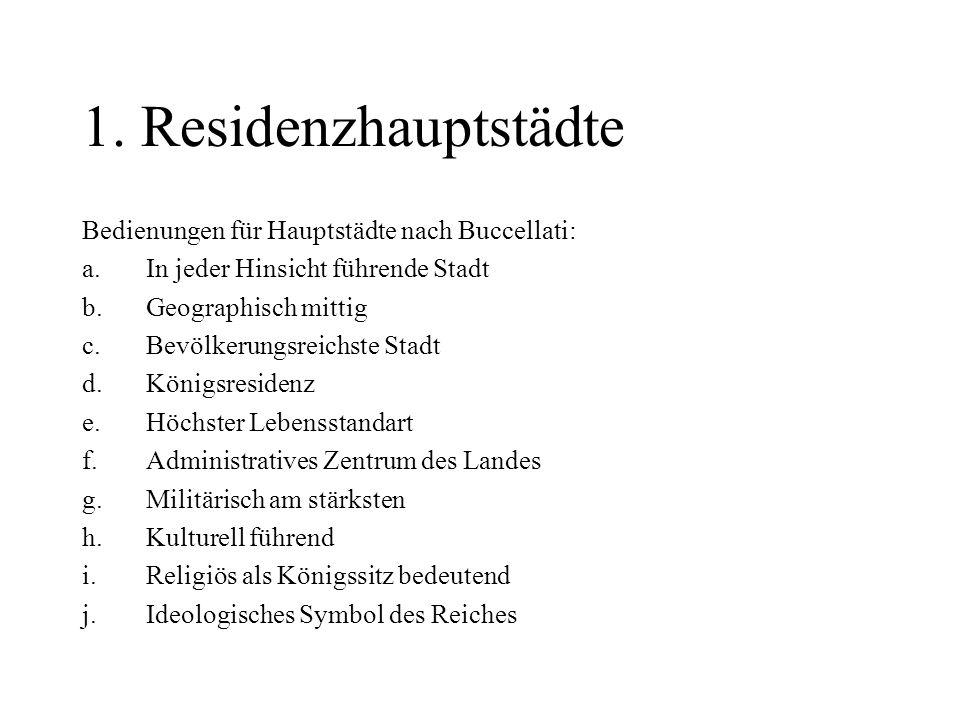 1. Residenzhauptstädte Bedienungen für Hauptstädte nach Buccellati: a.In jeder Hinsicht führende Stadt b.Geographisch mittig c.Bevölkerungsreichste St