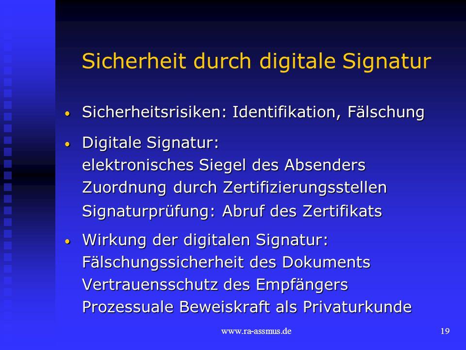 www.ra-assmus.de19 Sicherheit durch digitale Signatur Sicherheitsrisiken: Identifikation, Fälschung Sicherheitsrisiken: Identifikation, Fälschung Digi