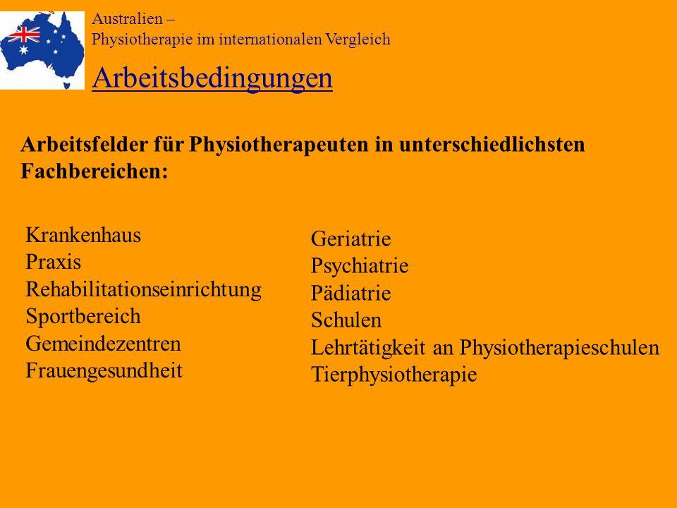 Australien – Physiotherapie im internationalen Vergleich Arbeitsbedingungen Krankenhaus Praxis Rehabilitationseinrichtung Sportbereich Gemeindezentren