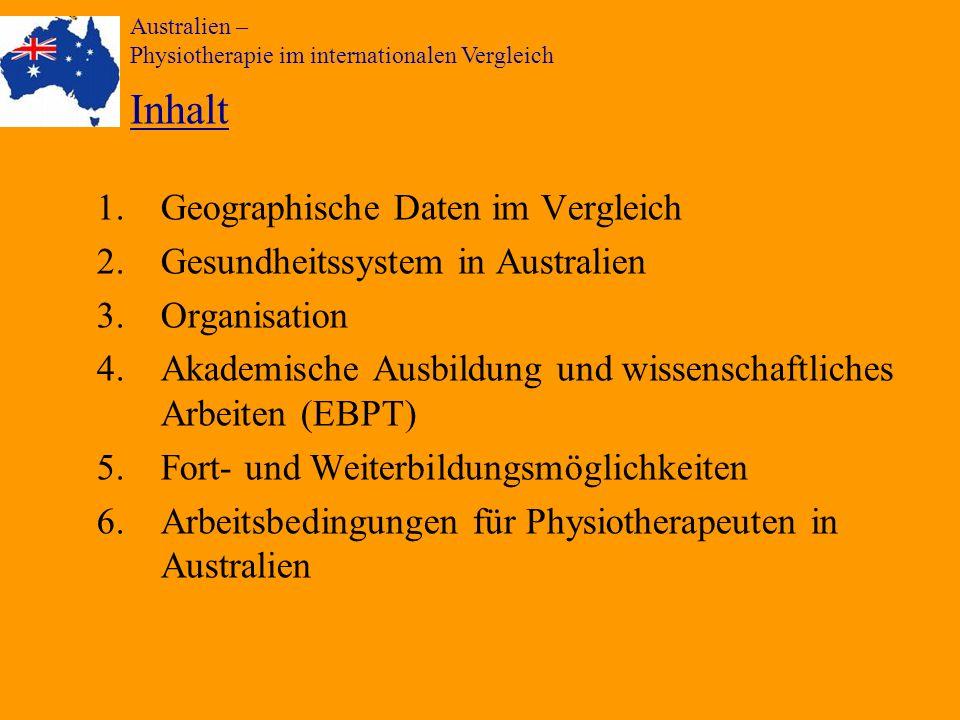 Australien – Physiotherapie im internationalen Vergleich Inhalt 1.Geographische Daten im Vergleich 2.Gesundheitssystem in Australien 3.Organisation 4.