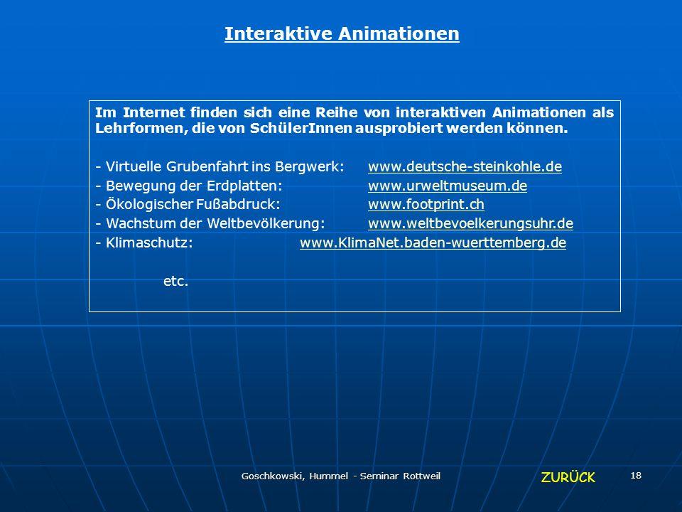 Goschkowski, Hummel - Seminar Rottweil 18 Interaktive Animationen Im Internet finden sich eine Reihe von interaktiven Animationen als Lehrformen, die