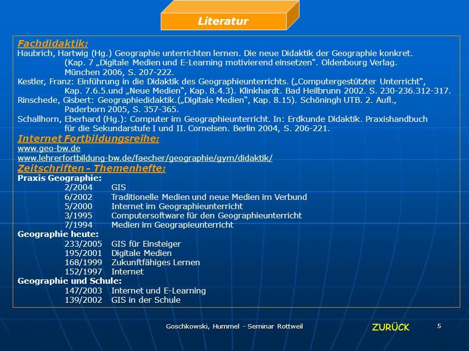Goschkowski, Hummel - Seminar Rottweil 5 Literatur Fachdidaktik: Haubrich, Hartwig (Hg.) Geographie unterrichten lernen. Die neue Didaktik der Geograp