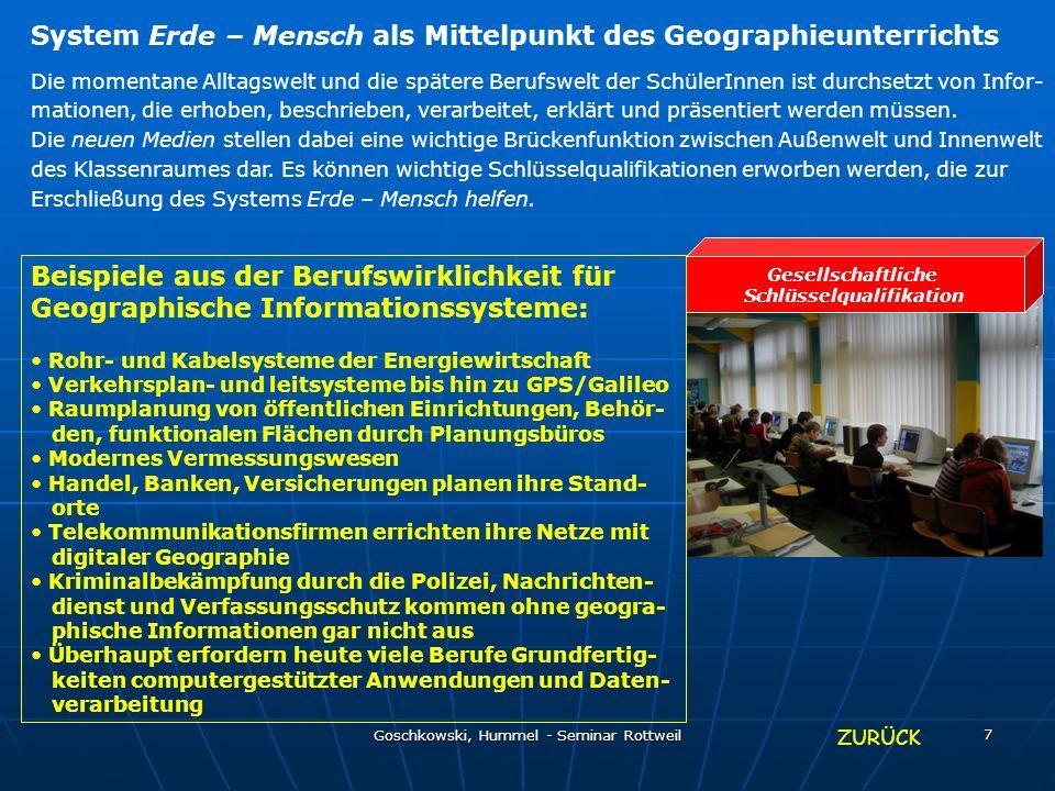 Goschkowski, Hummel - Seminar Rottweil 7 Gesellschaftliche Schlüsselqualifikation System Erde – Mensch als Mittelpunkt des Geographieunterrichts Die m