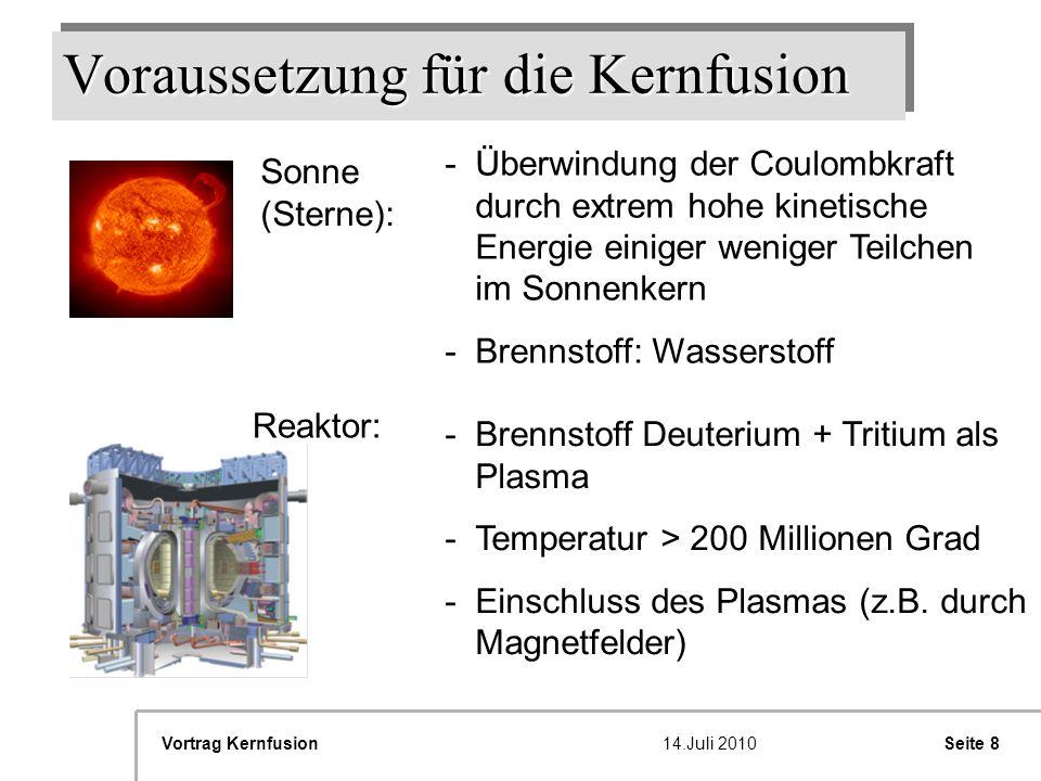 Seite 8Vortrag Kernfusion14.Juli 2010 Voraussetzung für die Kernfusion Sonne (Sterne): -Überwindung der Coulombkraft durch extrem hohe kinetische Ener