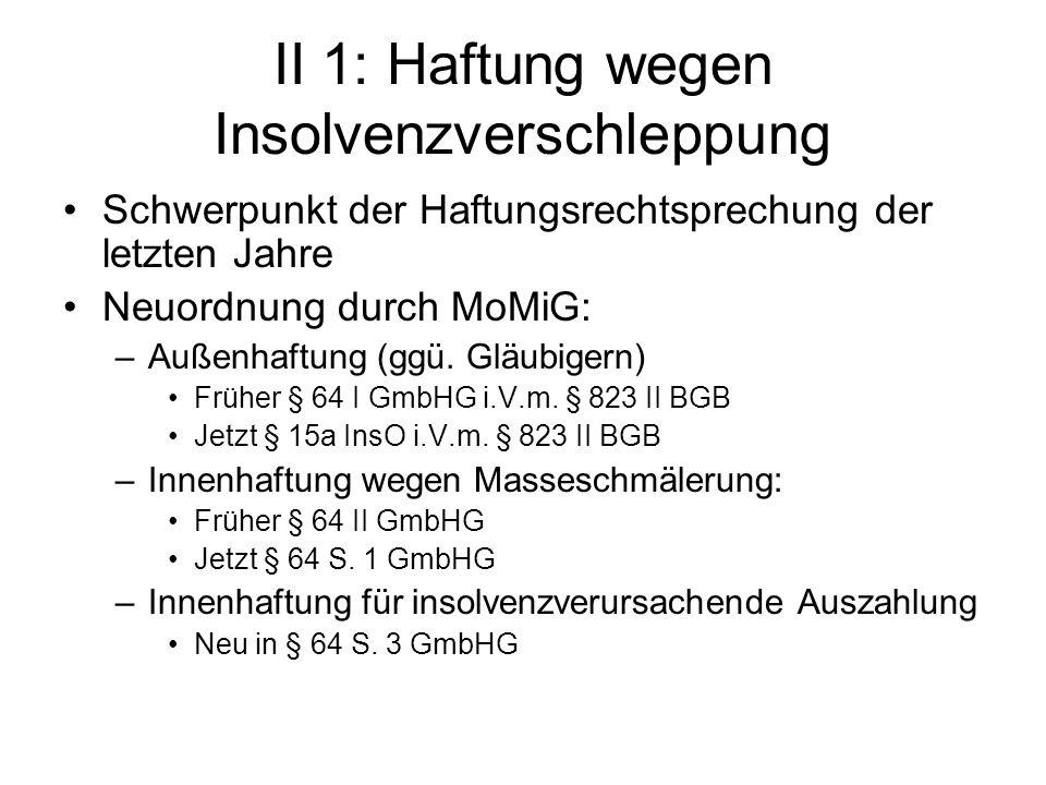 II 1: Haftung wegen Insolvenzverschleppung Schwerpunkt der Haftungsrechtsprechung der letzten Jahre Neuordnung durch MoMiG: –Außenhaftung (ggü. Gläubi