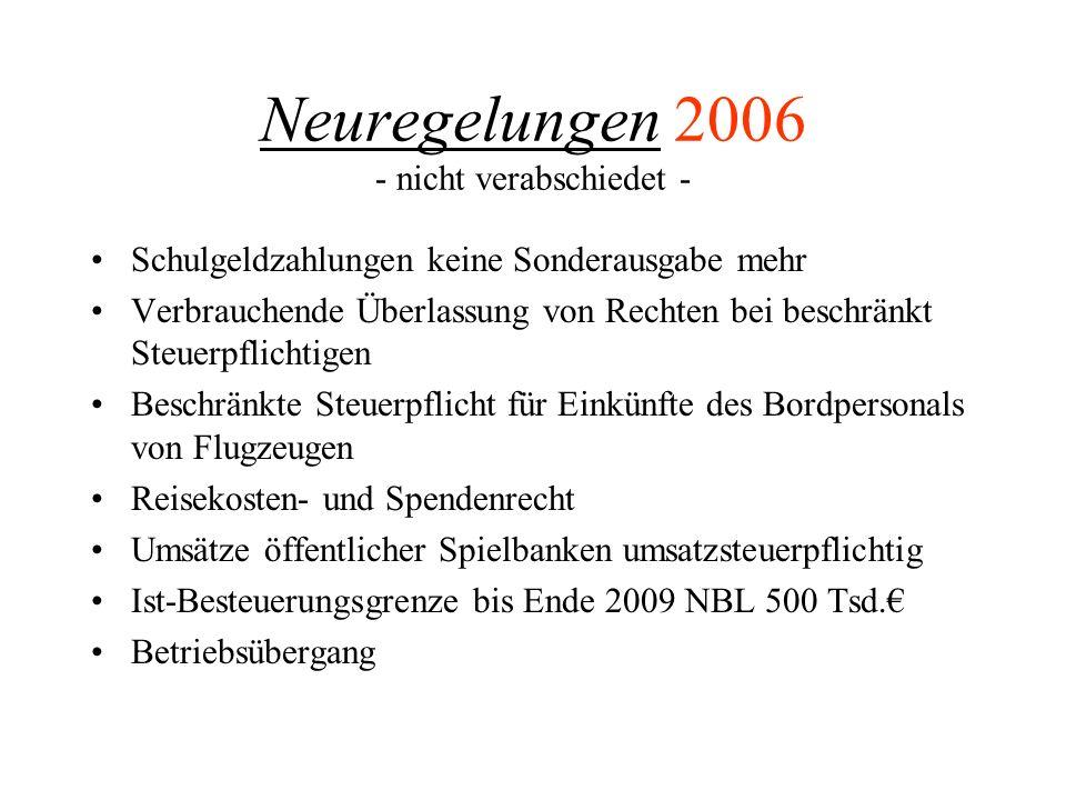 Neuregelungen 2006 - nicht verabschiedet - Minijobs Ordnungswidrigkeit i.S.d.