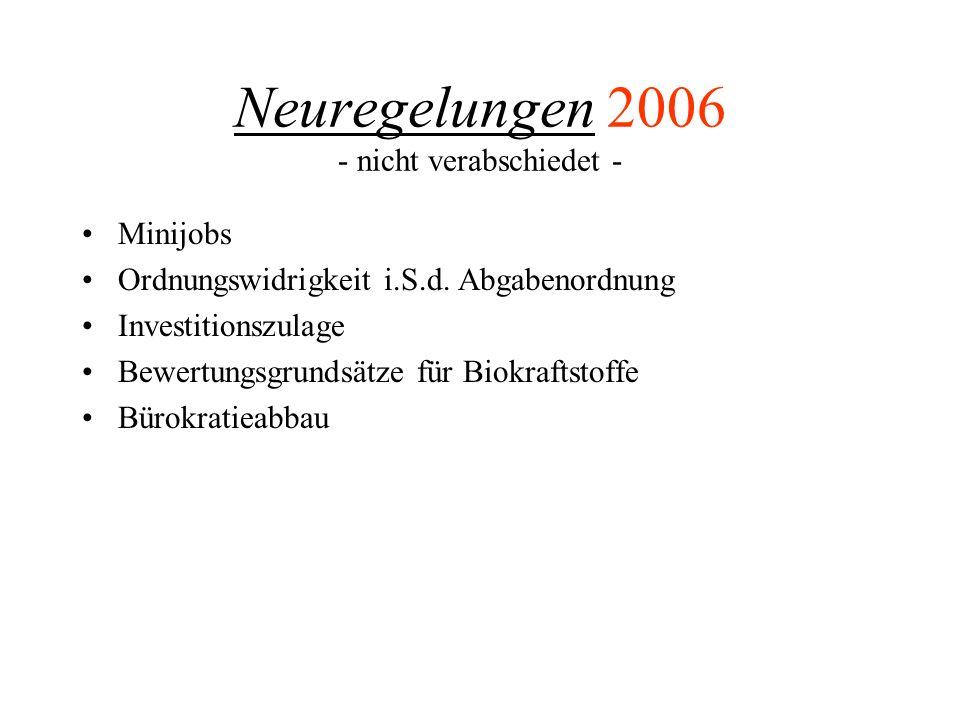Neuregelungen 2006 - nicht verabschiedet - Minijobs Ordnungswidrigkeit i.S.d. Abgabenordnung Investitionszulage Bewertungsgrundsätze für Biokraftstoff