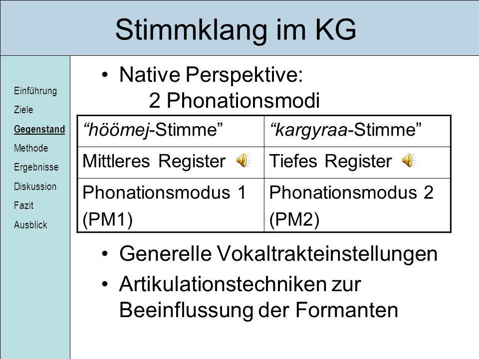 Einführung Ziele Gegenstand Methode Ergebnisse Diskussion Fazit Ausblick Stimmklang im KG Native Perspektive: 2 Phonationsmodi Generelle Vokaltraktein