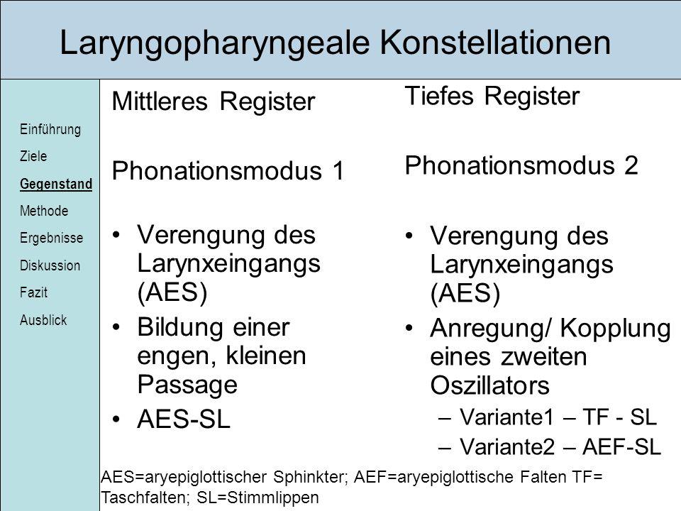 Einführung Ziele Gegenstand Methode Ergebnisse Diskussion Fazit Ausblick Laryngopharyngeale Konstellationen Mittleres Register Phonationsmodus 1 Veren