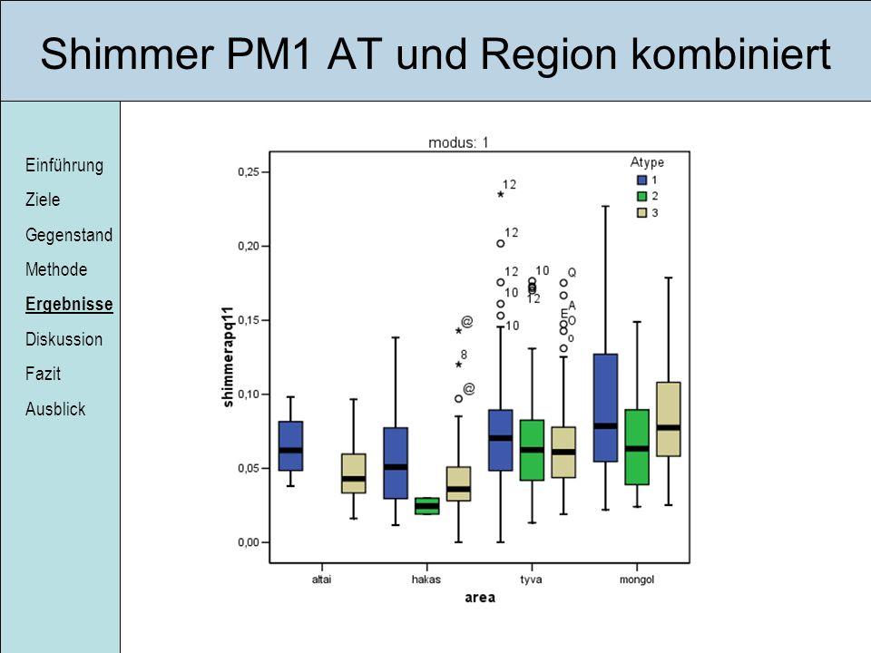 Einführung Ziele Gegenstand Methode Ergebnisse Diskussion Fazit Ausblick Shimmer PM1 AT und Region kombiniert