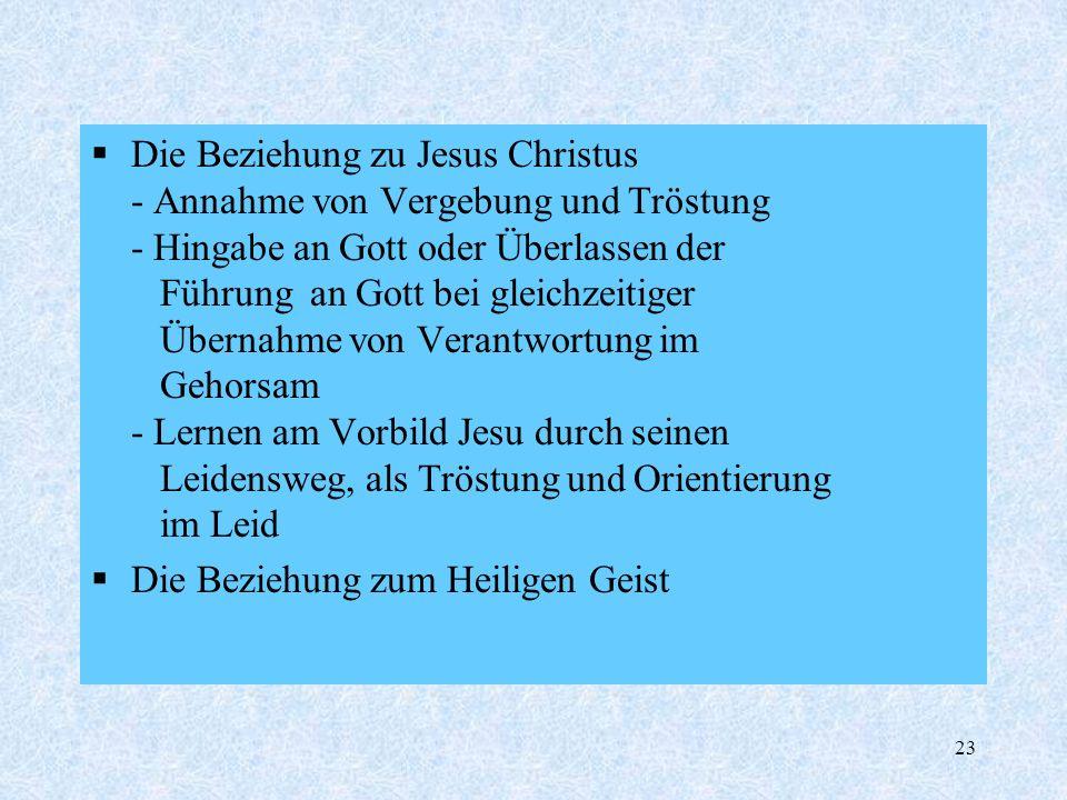 23 Die Beziehung zu Jesus Christus - Annahme von Vergebung und Tröstung - Hingabe an Gott oder Überlassen der Führung an Gott bei gleichzeitiger Übern