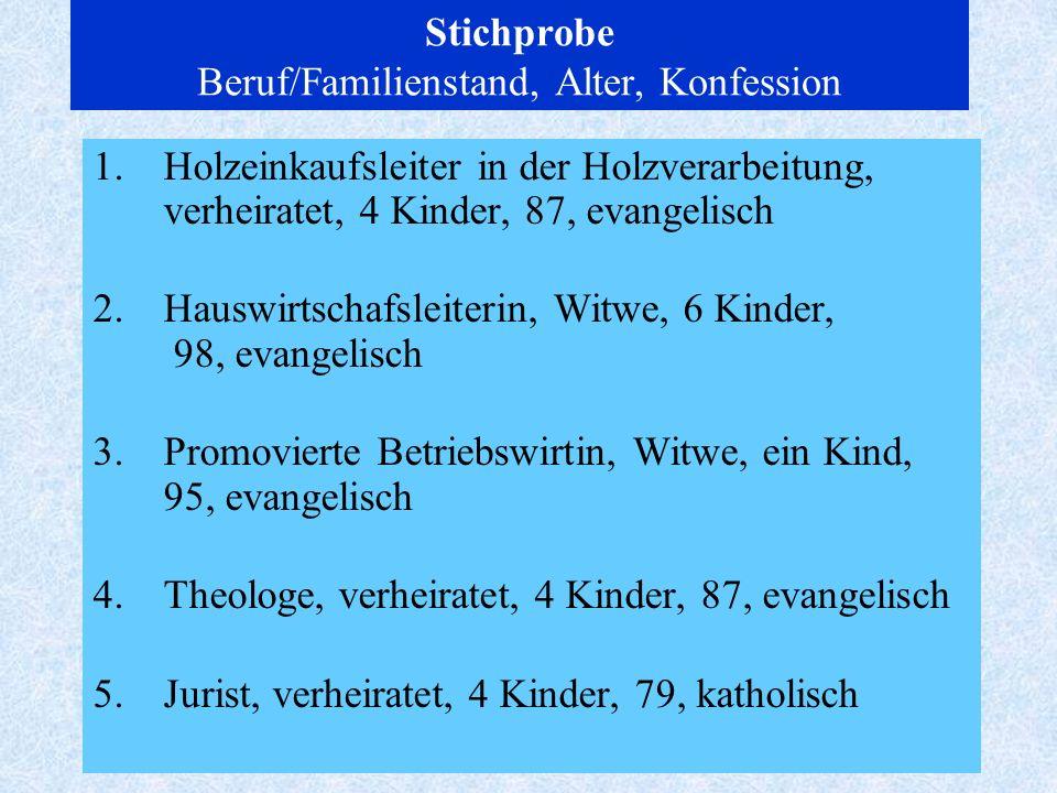 3 Stichprobe Beruf/Familienstand, Alter, Konfession 1.Holzeinkaufsleiter in der Holzverarbeitung, verheiratet, 4 Kinder, 87, evangelisch 2.Hauswirtsch