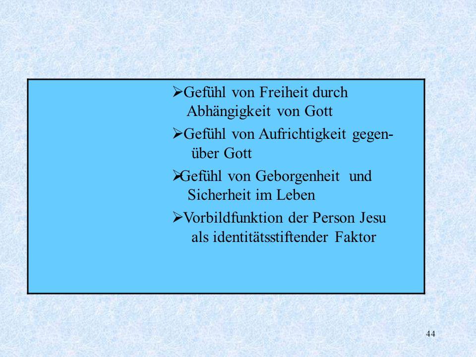 44 Gefühl von Freiheit durch Abhängigkeit von Gott Gefühl von Aufrichtigkeit gegen- über Gott Gefühl von Geborgenheit und Sicherheit im Leben Vorbildf