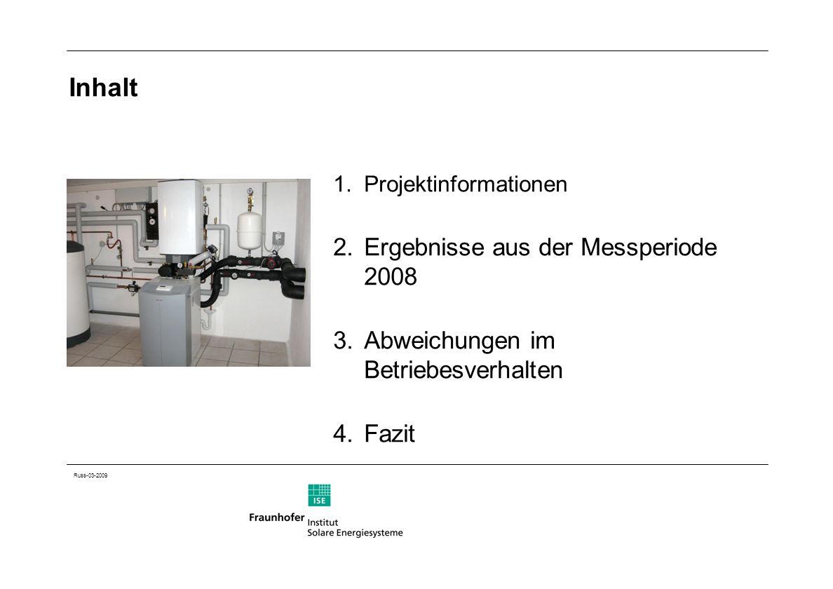 Russ-03-2009 Inhalt 1.Projektinformationen 2.Ergebnisse aus der Messperiode 2008 3.Abweichungen im Betriebesverhalten 4.Fazit
