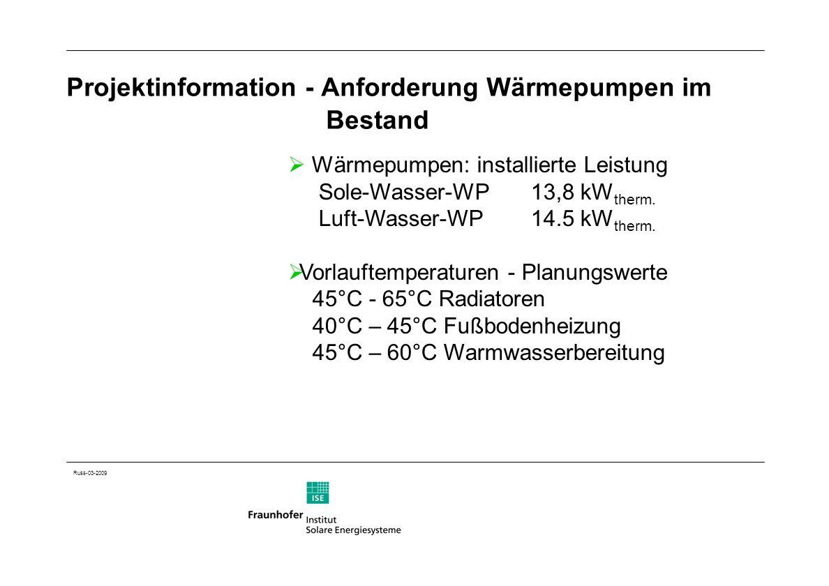 Russ-03-2009 Projektinformation - Anforderung Wärmepumpen im Bestand Wärmepumpen: installierte Leistung Sole-Wasser-WP13,8 kW therm. Luft-Wasser-WP 14