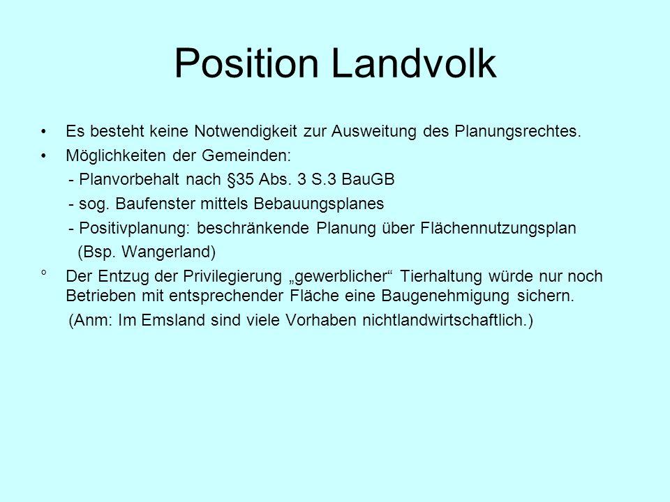 Position Landvolk Es besteht keine Notwendigkeit zur Ausweitung des Planungsrechtes. Möglichkeiten der Gemeinden: - Planvorbehalt nach §35 Abs. 3 S.3