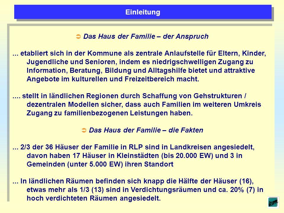 Das Haus der Familie – der Anspruch... etabliert sich in der Kommune als zentrale Anlaufstelle für Eltern, Kinder, Jugendliche und Senioren, indem es