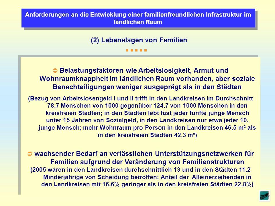 Anforderungen an die Entwicklung einer familienfreundlichen Infrastruktur im ländlichen Raum (2) Lebenslagen von Familien Belastungsfaktoren wie Arbei
