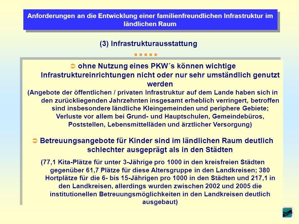 Anforderungen an die Entwicklung einer familienfreundlichen Infrastruktur im ländlichen Raum (3) Infrastrukturausstattung ohne Nutzung eines PKW´s kön