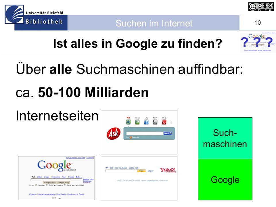 Suchen im Internet 10 Über alle Suchmaschinen auffindbar: ca.