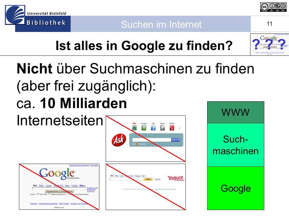 Suchen im Internet 11 WWW Ist alles in Google zu finden.