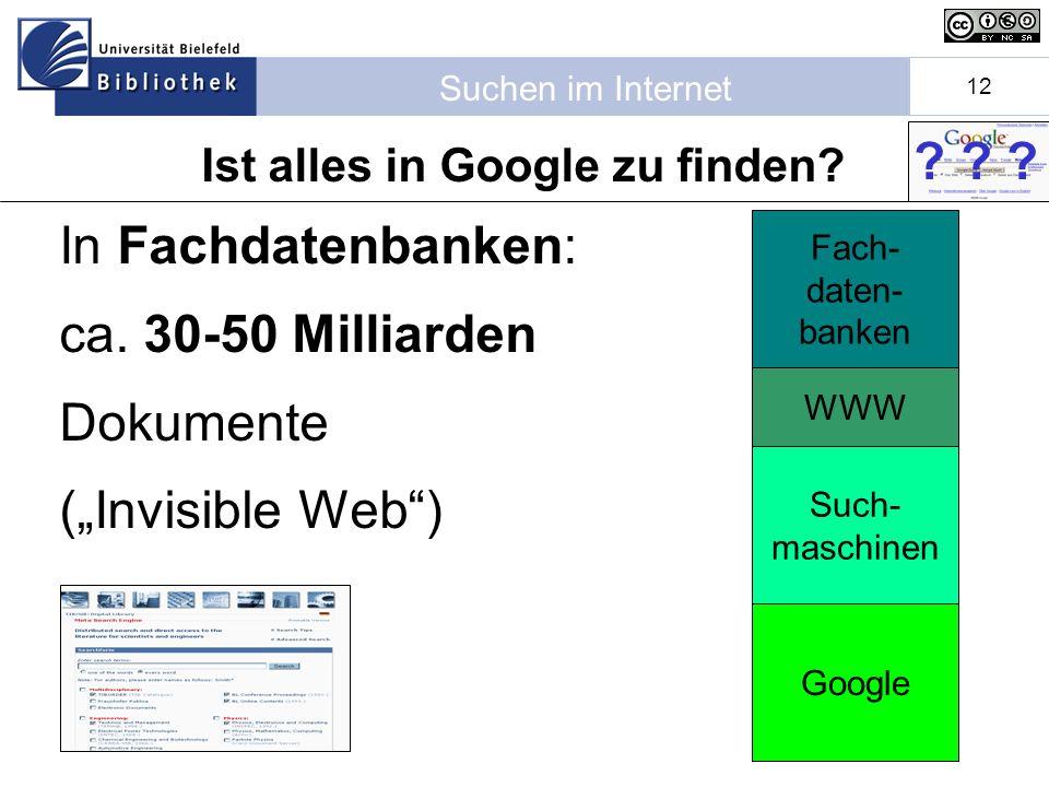 Suchen im Internet 12 Fach- daten- banken Ist alles in Google zu finden.