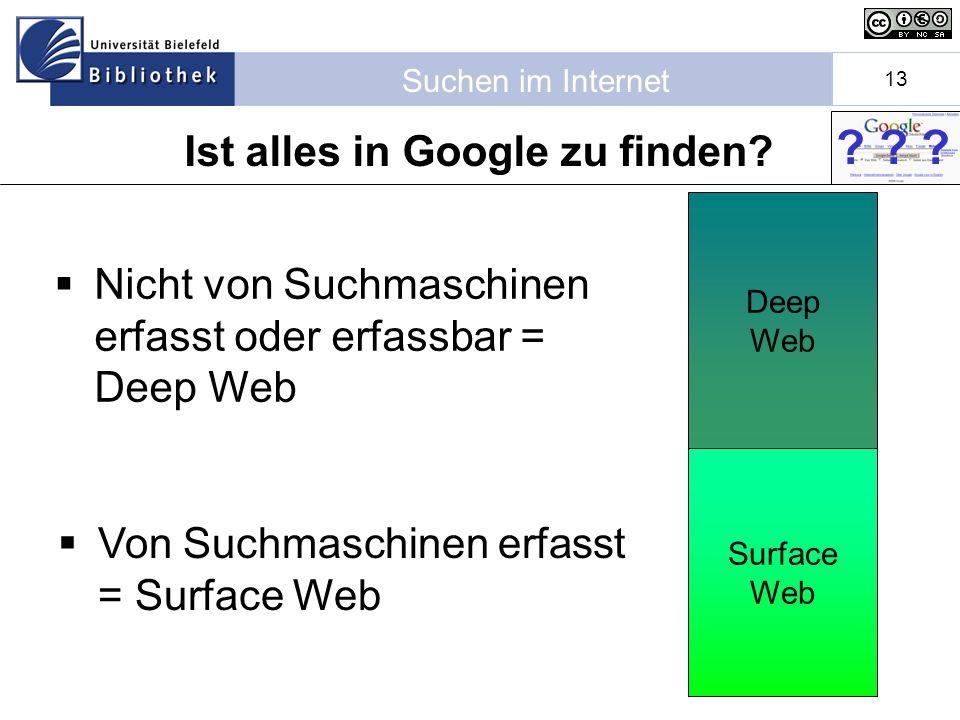 Suchen im Internet 13 Deep Web Ist alles in Google zu finden.