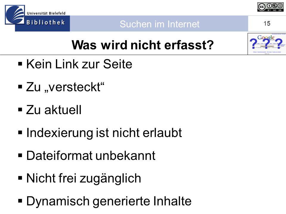 Suchen im Internet 15 Kein Link zur Seite Zu versteckt Zu aktuell Indexierung ist nicht erlaubt Dateiformat unbekannt Nicht frei zugänglich Dynamisch generierte Inhalte .