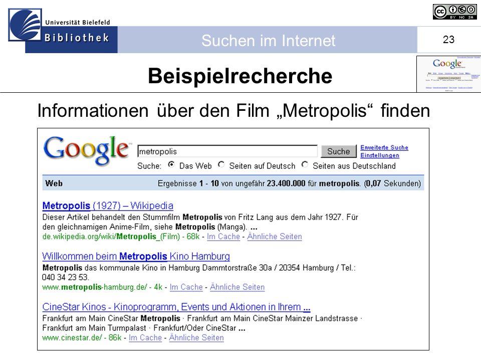 Suchen im Internet 23 Informationen über den Film Metropolis finden Beispielrecherche